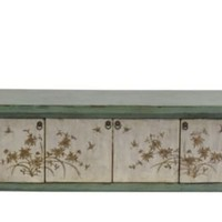 One Kings Lane - Eastern Influence - Lilian 4-Door Floral Sideboard, Teal