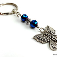 Butterfly Keychain, Indigo Blue Crystal Beaded Silver Pewter Butterfly Keyfob, Silver Blue Keychain, Monarch Butterfly Charm Insect Keychain
