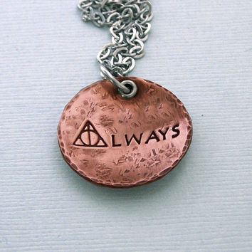 Always - Harry Potter Necklace - Hand Stamped Copper - Harry Potter Gift - Always Necklace