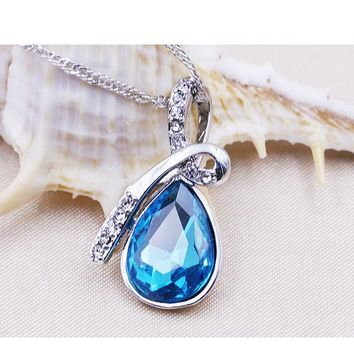 Classic Elegant Blue Stone Love  Water Drop Pendant Necklace