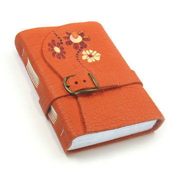 DISCOUNT SALE COUPON 15% - Orange Journal Handmade Leather Notebook  - Christmas in July Sale