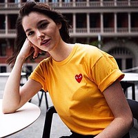 PLAY tide brand men and women embroidery classic logo round neck half sleeve t-shirt Yellow