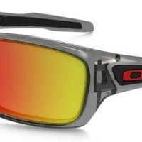 Oakley Turbine Grey Smoke With Fire Iridium Polarized Sunglasses