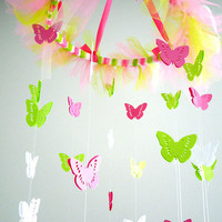 Childrens Butterfly Mobile - Pink, Neon Green - Nursery Mobile - Little Girls Room Decor - Baby Shower Gift - Butterfly Decor