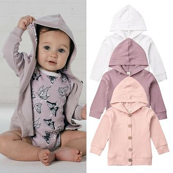 Inafnt Baby Girl Boy Knitted Cotton Coats Knit Sweaters Cardigan Tops Warm Fall Clothes Solid Long Sleeve Hooded Jackets 0-24M