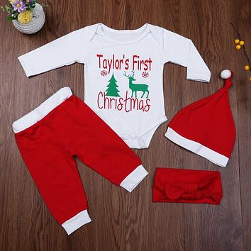 Baby Christmas Clothes Infant Unisex Deer Letters Print Bodysuit+ Pants + Hat + Headband Outfits for Baby Boys Girls