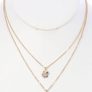 Gold 2 Pc Four Leaf Clover Charm Chain Necklace