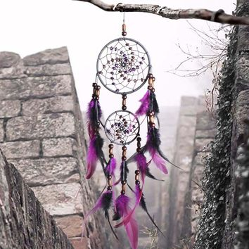 Dream Catcher With Feathers Bead Wall Hanging Decoration Wicker