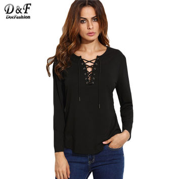 Dotfashion Fall Black V Neck Lace Up Curved Hem Tops Solid Long Sleeve Tees Women Casual Wear Loose T-shirt