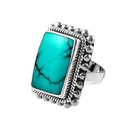 """SR-6366-TQ-5"""" Sterling Silver Ring With Turquoise"""