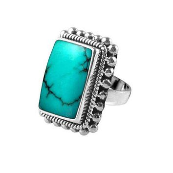 "SR-6366-TQ-9"" Sterling Silver Ring With Turquoise"