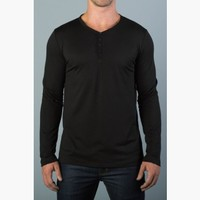 {the common good} Slim Long-Sleeve Rolled-Hem Henley in Blacker the Berry