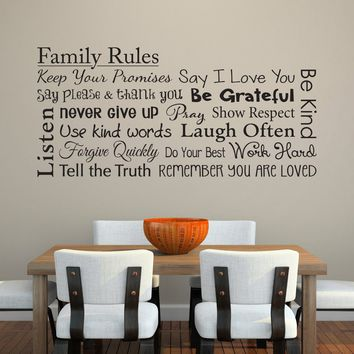 Family Rules Decal - Keep your Promises - Be Kind - Pray - Listen - Family Wall Decal - Horizontal Extra Large
