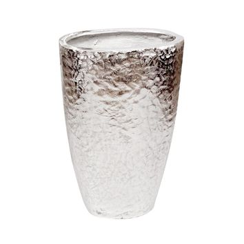 Hammered Silver Metal Tapered Vase