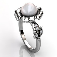 Platinum white South Sea pearl diamond unusual unique floral engagement ring, bridal ring, wedding ring ER-1045