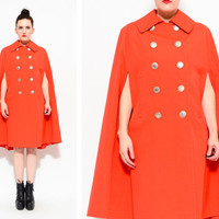 60s Orange Mod Cape - Military Peacoat Trench Coat Swing Jacket S / M