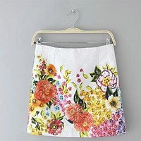 Women sweet floral print skirts vintage zipper quality Femininas ladies casual office wear skirts cheap clothes china BSQ294