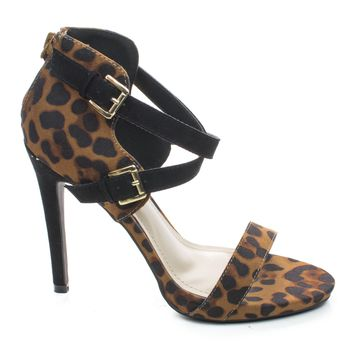 Newbee11 Leopard By Anne Michelle, Suede Two Tone Criss Cross Cut Out Ankle Strap Zipper Buckle High Heel