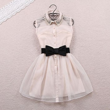 Bow Belt Spring Summer Sweet Pearl Diamond Lapel Waist Sleeveless Tank Vest Dress Gauze Tutu = 1946100036