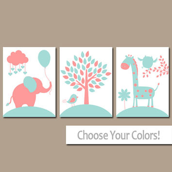 CORAL AQUA Nursery Wall Art, CANVAS or Prints, Baby Girl Nursery Decor, Elephant Giraffe Tree, Jungle Safari Animals, Set of 3 Crib Artwork
