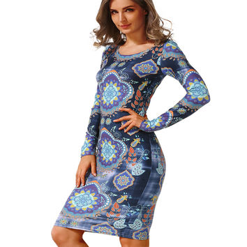 Autumn Dress Fashion Round Neck sheath pencil Long sleeves Dresses Design Print Vintage Women Dress