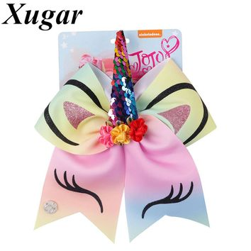 7 Inch Rainbow Cheer Bows for Girls Glitter Unicorn jojo Hair Bow with Floral Sequin Horn Elastic Band Hair Tie Hair Accessories