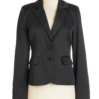 ModCloth Menswear Inspired Short Length Long Sleeve Feelin' In Charge Blazer in Black