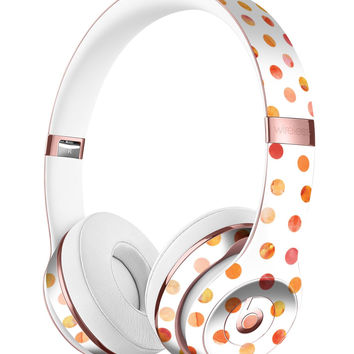 Orange Watercolor Dots over White Full-Body Skin Kit for the Beats by Dre Solo 3 Wireless Headphones