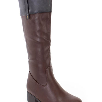 Brown Black Mid Calf Riding Boots Faux Leather