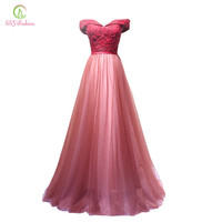 Fashion New Wine Red Lace Evening Dress Bride Banquet Sweetheart Boat Neck Floor-length Lace Party Formal Dress Custom
