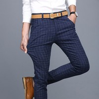 Men's Dress Casual Slim Plaid Pencil Pants