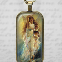 Goddess Fortuna Glass Tile Pendsnt Necklace Roman Goddess Jewelry Handmade