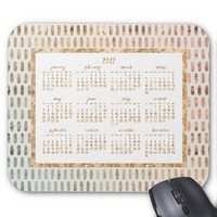 Golden Yearly 2017 Calendar Mouse Pads Light