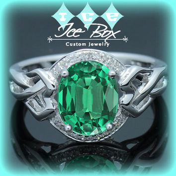 Celtic Knot Engagement Ring - 2.5ct, 7 x 9mm Cultured Emerald Set in a 14K White Gold Celtic Knot Halo Setting
