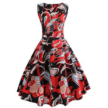 Vintage Africa Floral Printing Bodycon Sleeveless Dress High Waist Sashes Casual Party Mini Short Dresses Prom Swing Dress-12