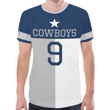 Dallas Football #9 State of Texas Flag Men's Mesh Jersey T-Shirt