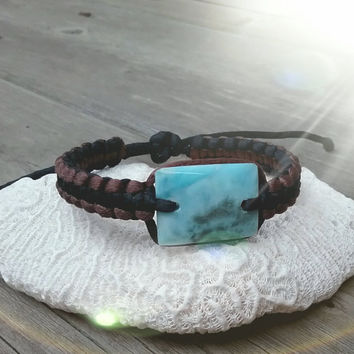 Dominican Larimar Macrame Surfer Bracelet beach summer blue dolphin surf unisex boho black and brown atlantis stone men women