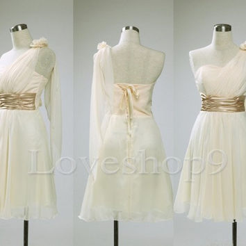 Short Cream One Shoulder Chiffon Bridesmaid Dresses Prom Dresses Cocktail Dresses Formal Party Occasions Wedding Events 2014