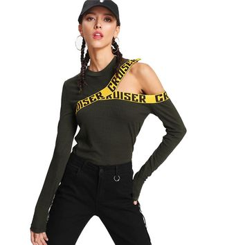 Fashion  Cut Out Round Neck Woman Top Long Sleeve Slim Fit T Shirt