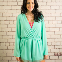 You're Never Off My Mind Romper - Mint