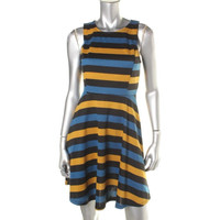 Bar III Womens Striped Sleeveless Wear to Work Dress