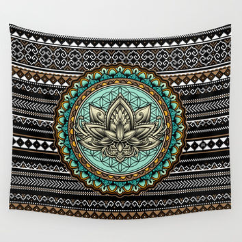 Lotus Mandala Pattern Wall Tapestry by Angoes25