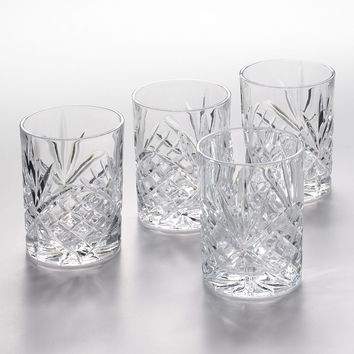 Shannon by Godinger Dublin 4-pc. Double Old-Fashioned Crystal Glass Set (Clear)