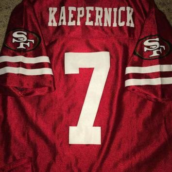 DCCKWV6 Sale!! Vintage SAN FRANCISCO Sf 49ers Football Jersey NFL T shirt #7 Colin Kaepernick