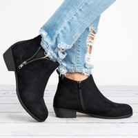 Exposed Zipper Booties - Black