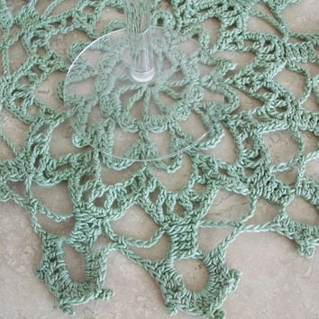 Green Crochet Lace Table Topper Doily Housewares Handmade Doily Retro Romantic Vintage Style