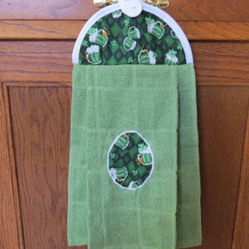 Hanging Kitchen Towel, Saint Patrick's Day Towel, Hanging Hand Towel, Hanging Tea Towel, Hanging Dish Towel,