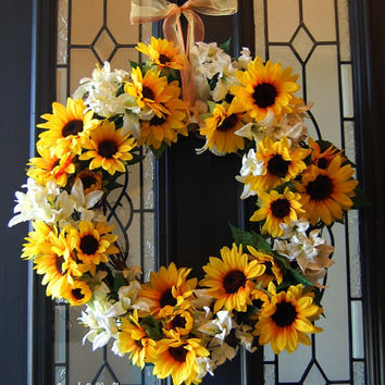 Here Comes The.. Sunflower Wreath, Silk Sunflower and White Tiger Lily Front Door Wreath, Summer Wreath
