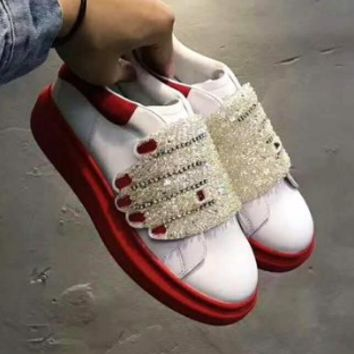 Alexander McQueen LV X SUPREME X ALEXANDER MCQUEEN red and white sports shoes   F-DXTY-XZ