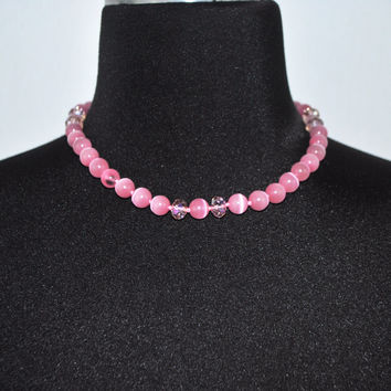 Pink Mexican Opal Beaded Women's Necklace